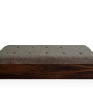 Puff retangular base madeira